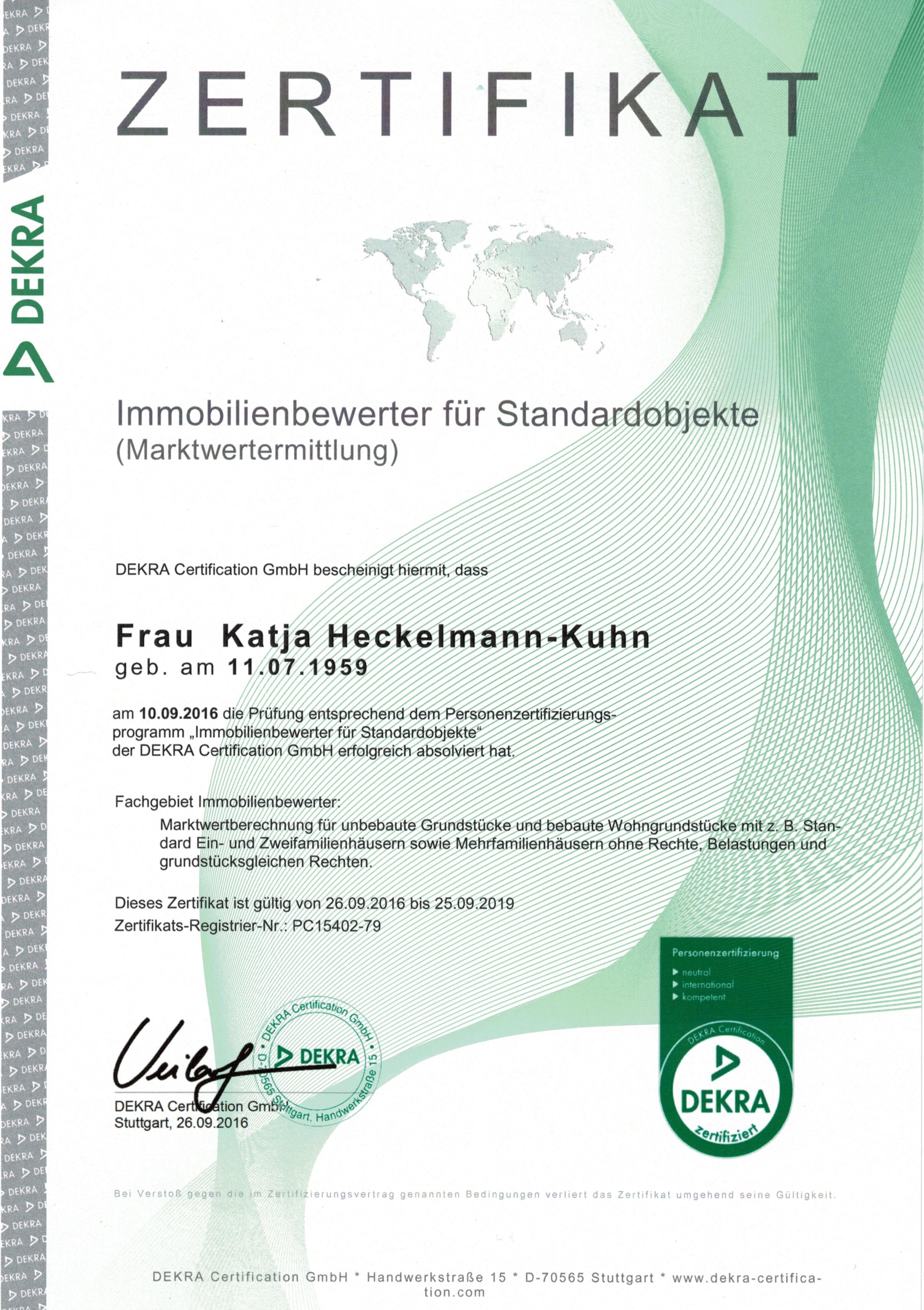 Kuhn Immobilien Bad Kissingenn hat DEKRA Zertifizierung zur Marktwertermittlung